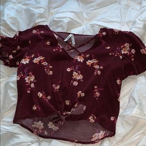 Floral Cropped Short Sleeve